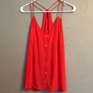 Coral spaghetti strapped blouse with buttons